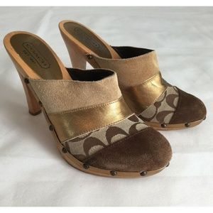 Coach Shoes 8B Clogs Brown Gold Wooden Heels
